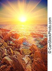 Beautiful view on sunrise on sea instagram stile