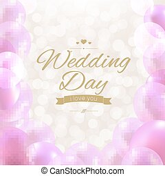 Wedding Day With Gradient Mesh, Vector Illustration
