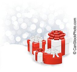 Silver Bokeh Xmas Wallpaper With Gift Box With Gradient...