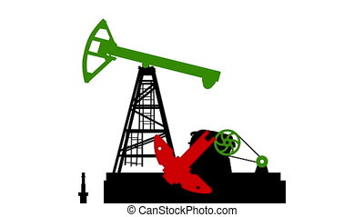 Fossil fuel energy, oil pump isolated on white background 2d...
