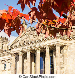 bundestag in autumn - german bundestag on an autumn day