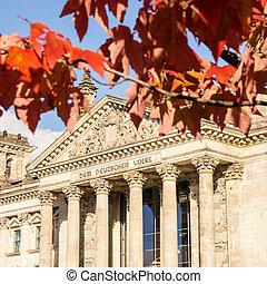 bundestag in autumn - german bundestag on an autumn day