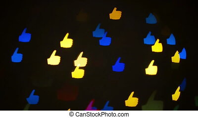Blinking likes - Colorful defocused blinking Like and...