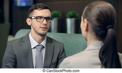 Performance Evaluation - Close up of businessman talking to...