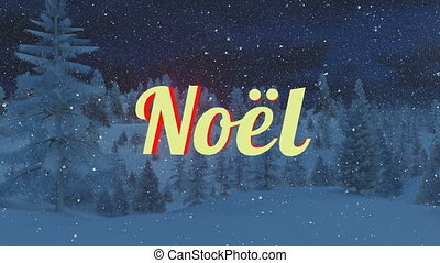 Animated bright Noel text and Santa
