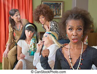 Disappointed Woman with Group Smoking Pot - Black woman...