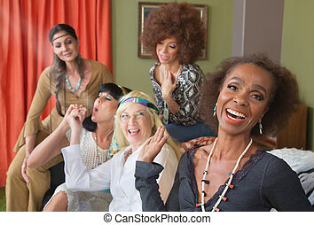 Woman Laughing at People Smoking - Woman laughing a middle...