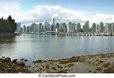 Vancouver skyline and waterfront from Stanley Park Canada -...