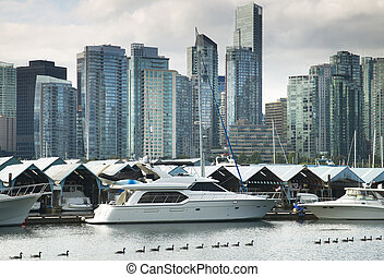 Vancouver skyline and waterfront from Stanley Park. Canada -...