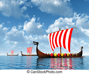 Viking Ships - Computer generated 3D illustration with...