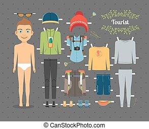 Menino, sapatos, boneca, turista, papel, roupas