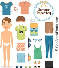 Paper doll boy in summer clothes and shoes. Cute dress up...
