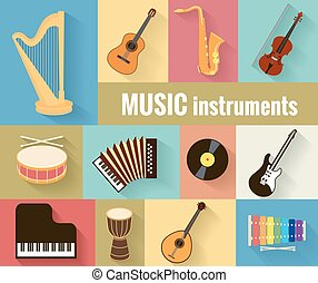 Musical instruments vector set - Set of musical instruments...