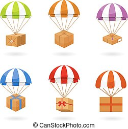 Set of Colorful Parachute Carrying Boxes - Set of Colored...