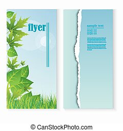 flyer template with fresh green leaves and grass