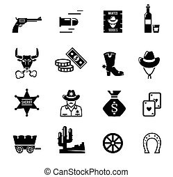 Wild west icons Black logo on the white background Cowboy...
