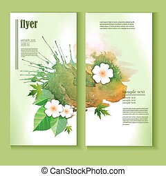 flyer template with leaves, flowers, watercolor splashes