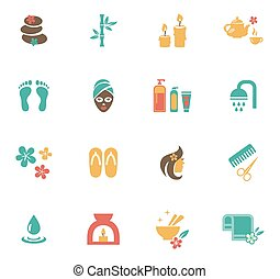 Beauty and Spa Icons. Means and items of body care, bamboo...