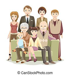 Cartooned Big Happy Family at the Sofa - Cartooned Big Happy...