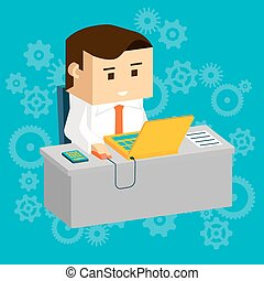 Cartooned Businessman at Working Table with Laptop