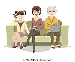 Sitting Females on Couch with Gadgets - Cartooned Females...