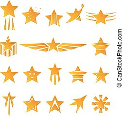 Gold Stars for Logos and Emblems - Set of Gold Star Shapes...