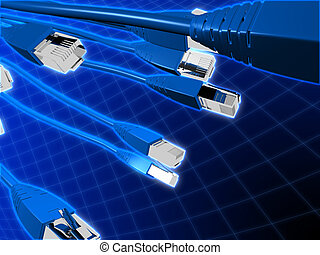 network cables - 3d rendered illustration of different...