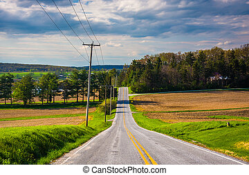 A country road in rural York County, Pennsylvania.