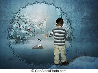 The Winter's Tale - The kid calling on a phone in the winter...
