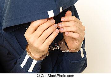 arrested man - studio shot of arrested man on white...