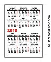 Pocket calendar 2016 template. Illustration in vector format