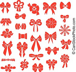 Set vector bows of different shapes red color - Set vector...