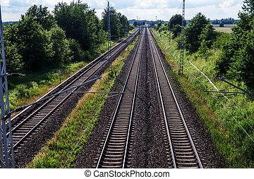 rails in landscape near berlin in summer