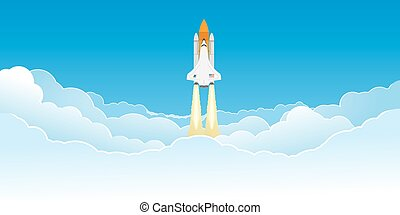 Shuttle flying in clouds - Realistic space shuttle flying in...