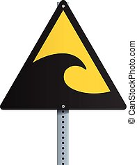 Tsunami Sign - Vector illustration of black and yellow...