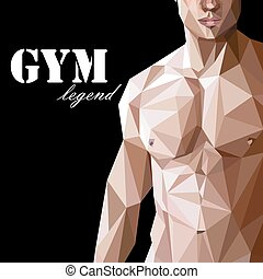 illustration with caucasian or asian man muscle body in low-polygonal style. gym advertise flyer or sport (fitness) poster