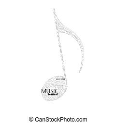 vector music illustration of a music note sign made of...