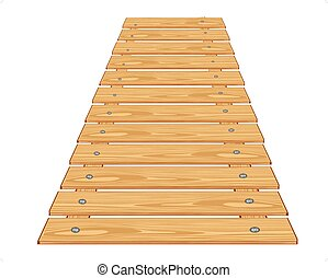 Wooden bridge - Wooden flooring from boards on white...