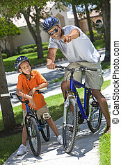 &, 父, 男の子, 息子, アメリカ人, 自転車, アフリカ, 乗馬, 人