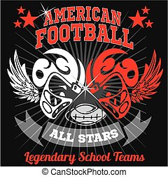 American football - Vintage vector print for boy sportswear