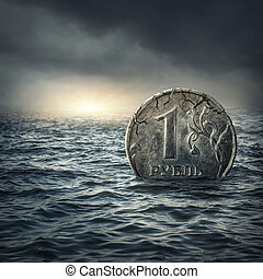 Ruble coin sinking in waterRussian economic crisis concept