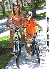 African American Woman Mother WIth Boy Son Riding Bike