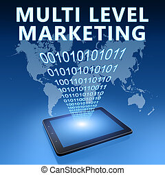 Multi Level Marketing illustration with tablet computer on...
