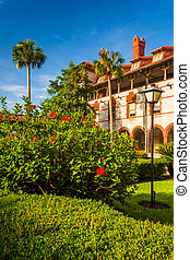 Bushes and building at Flagler College, in St Augustine,...