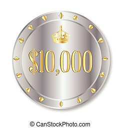 10000 Dollar Chip - A platinum ten thousand dollar gambling...