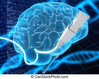 brain and network cable - 3d rendered illustration of a...