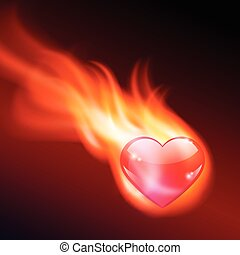 Abstract background with burning heart. EPS10 vector.