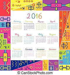2016 calendar with frame for kids