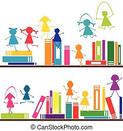 Cartoon children playing on book shelves