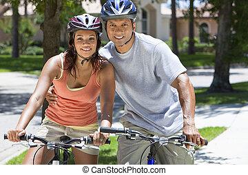 女,  &, 恋人, アメリカ人, 自転車, アフリカ, 乗馬, 人